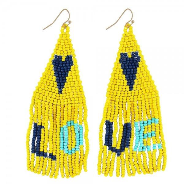 "Seed beaded heart fringe tassel earrings with LOVE details.  - Approximately 3.5"" in length"