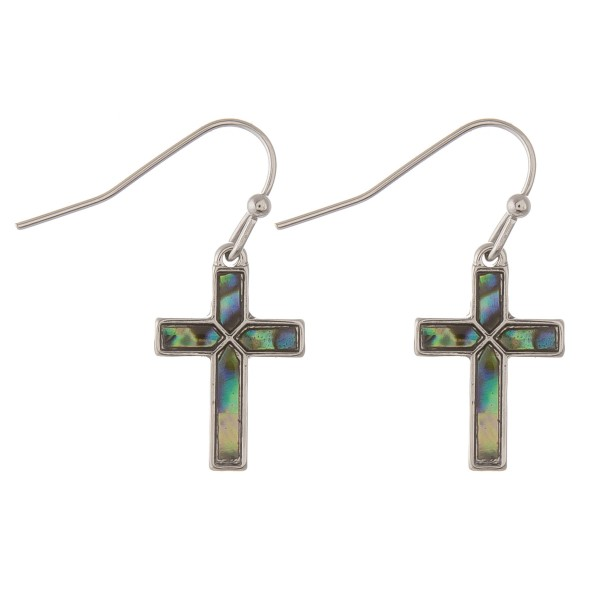 "Silver abalone cross drop earrings.  - Approximately .75"" in length"