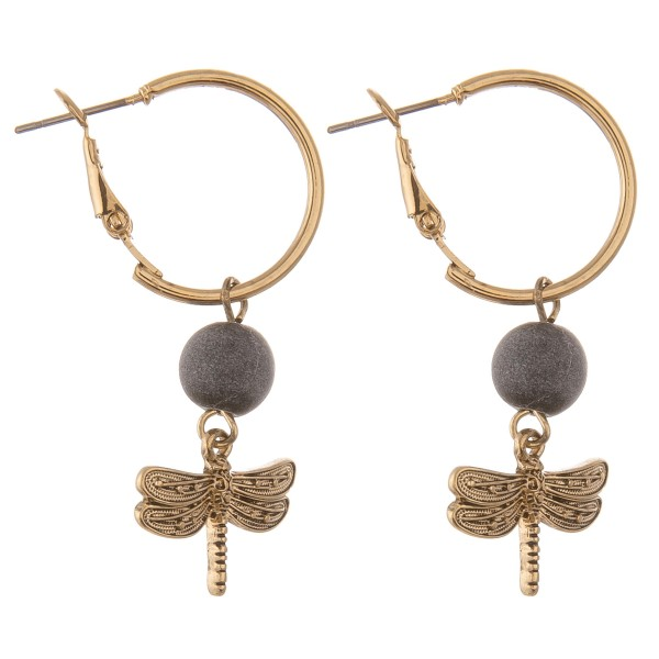 """Natural stone dragonfly hoop earrings.  - Approximately 1.5"""" in length"""