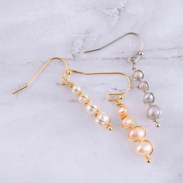 "Wire wrapped freshwater pearl drop earrings.  - Approximately 1"" in length"