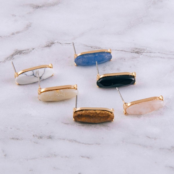 """Natural stone oblong bar stud earrings.  - Approximately 1"""" in length"""