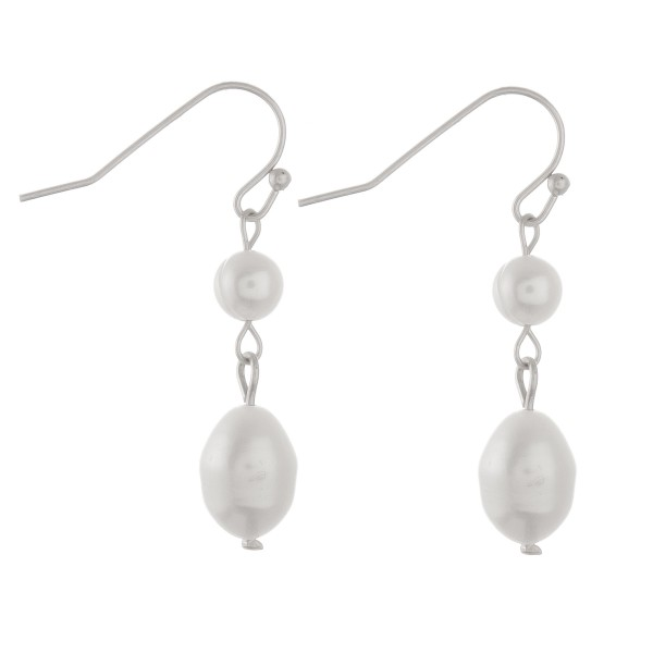 "Irregular freshwater pearl drop earrings.  - Approximately 1.5"" L"