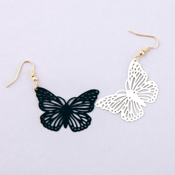"Coated cut out butterfly dangle earrings.  - Approximately 2.5"" L"