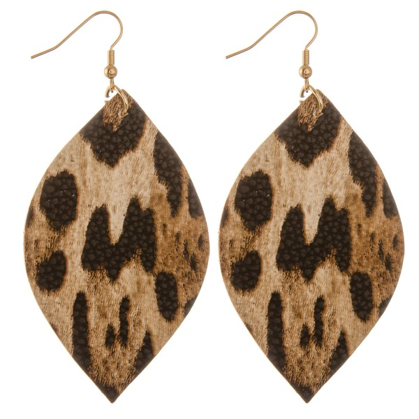 """Faux leather leopard print pointed oval drop earrings.  - Approximately 3.5"""" L"""