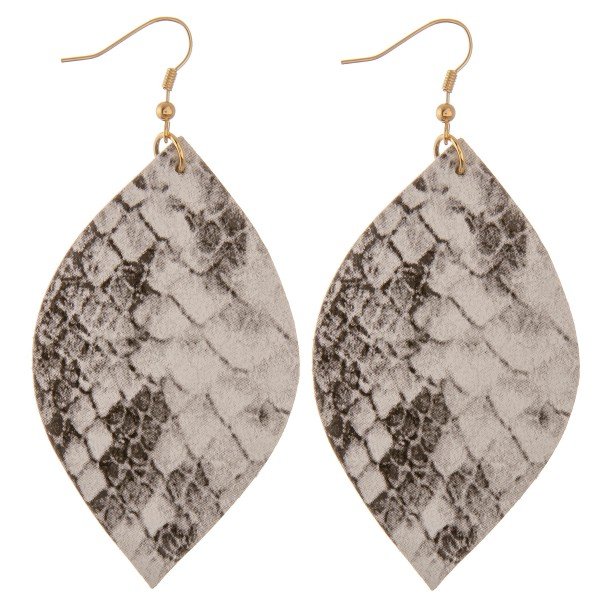 """Faux leather snakeskin pointed oval drop earrings.  - Approximately 3.5"""" L"""