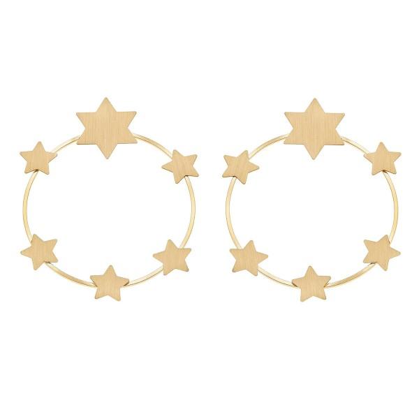 "Metal Star Wreath Statement Earrings.  - Stud Post - Approximately 3"" in diameter"