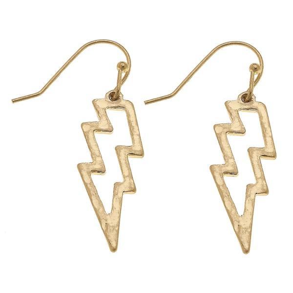 """Worn Gold Hammered Lightning Bolt Drop Earrings.  - Approximately 3"""" L"""