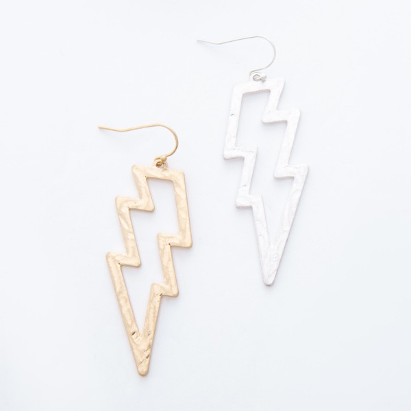 """Worn Silver Hammered Lightning Bolt Drop Earrings.  - Approximately 3"""" L"""