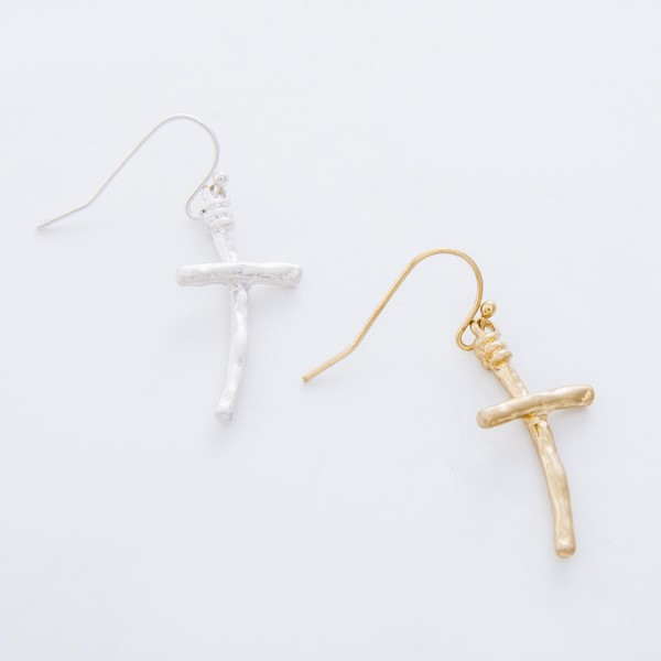 "Hammered Cross drop earrings.  - Approximately 1.5"" L"
