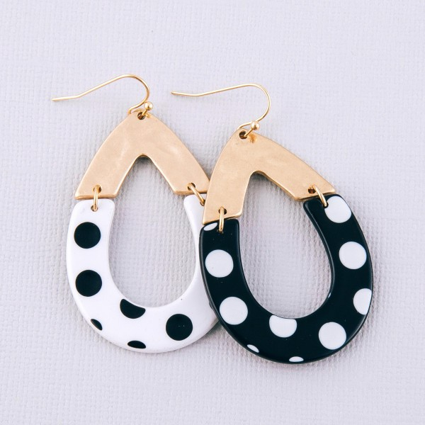 "Enamel polka dot hinge teardrop earrings.  - Approximately 2"" L"