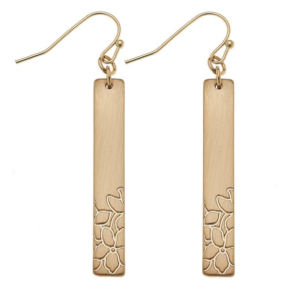 "Satin Gold Flower stamped bar drop earrings.  - Approximately 2"" L"