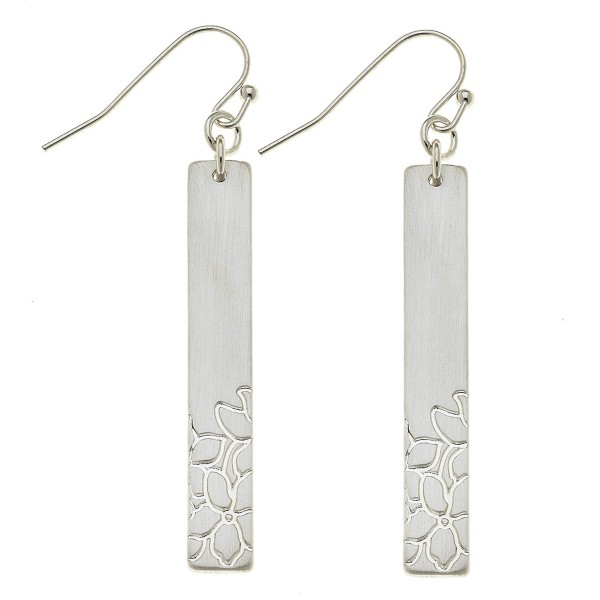 """Satin Silver Flower stamped bar drop earrings.  - Approximately 2"""" L"""