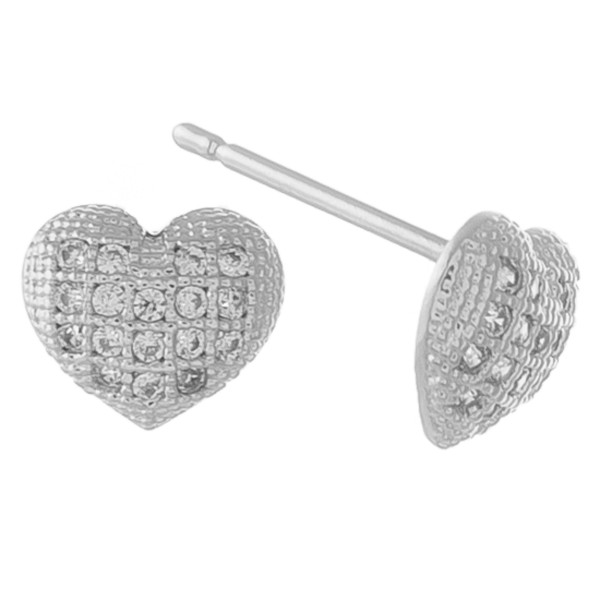 White Gold dipped cubic zirconia filled heart stud earrings.  - Cubic Zirconia  - Approximately 5mm in size