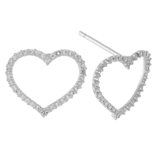 """White Gold dipped cubic zirconia open heart stud earrings.  - Cubic Zirconia  - Approximately .5"""" in size"""