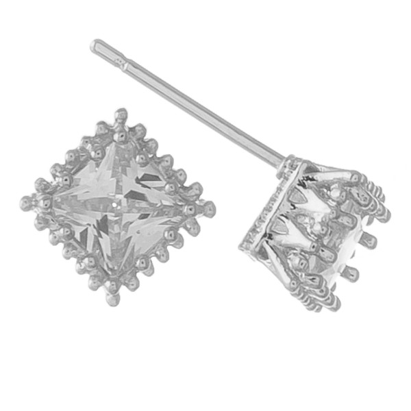 White Gold dipped cubic zirconia stud earrings.  - Cubic Zirconia  - Approximately 5mm in size