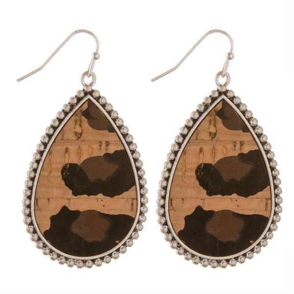 """Leopard print cork encased teardrop earrings.  - Approximately 2"""" in length"""