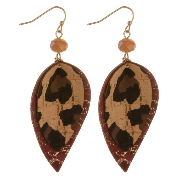 """Leopard print nested cork earrings with bead accent.  - Approximately 3"""" in length"""