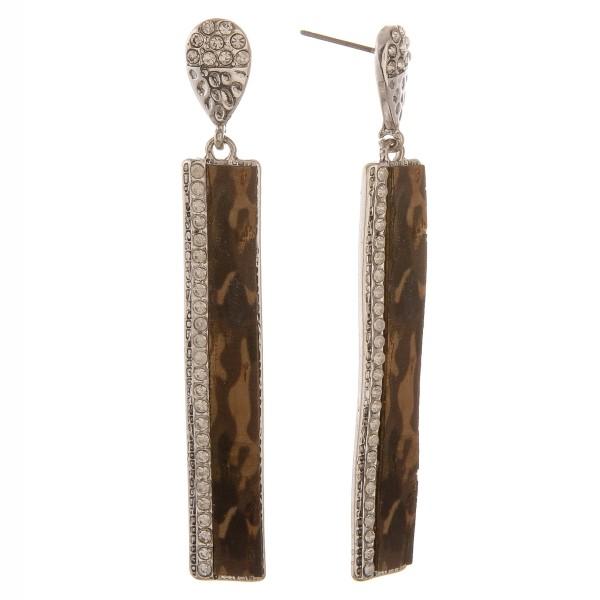 "Rhinestone snakeskin cork metal bar earrings.  - Approximately 3"" in length"