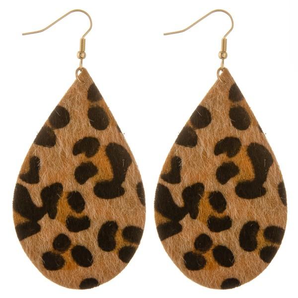 """Leopard print faux fur teardrop statement earrings.  - Approximately 3.5"""" in length"""