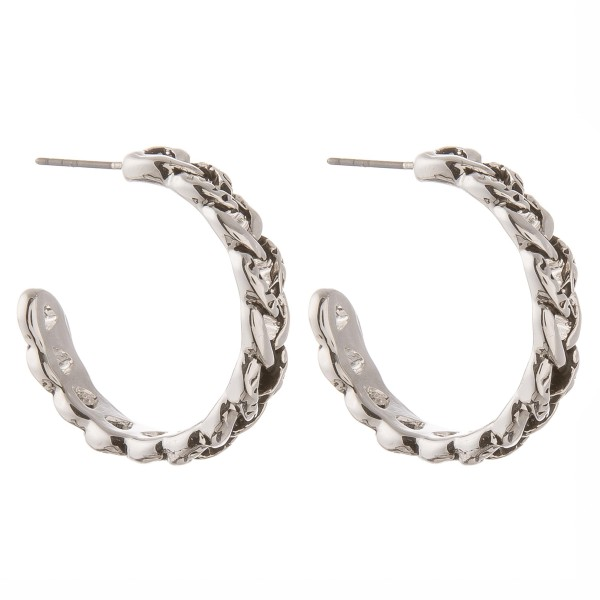 """Antique silver tailored chain linked open hoop earrings.  - Approximately 1.25"""" in diameter"""