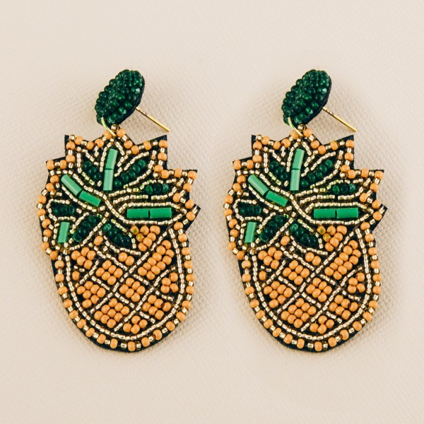 "Pineapple seed beaded felt drop earrings.  - Approximately 2.25"" L"