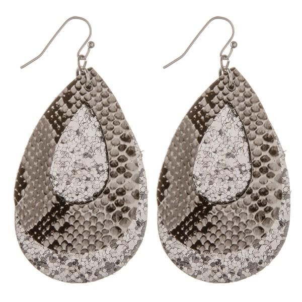 """Glittery snakeskin felt teardrop earrings.  - Approximately 2.5"""" in length"""