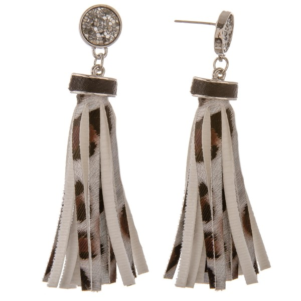 """Faux leather leopard print tassel earrings with glitter stud accent.  - Approximately 3"""" in length"""