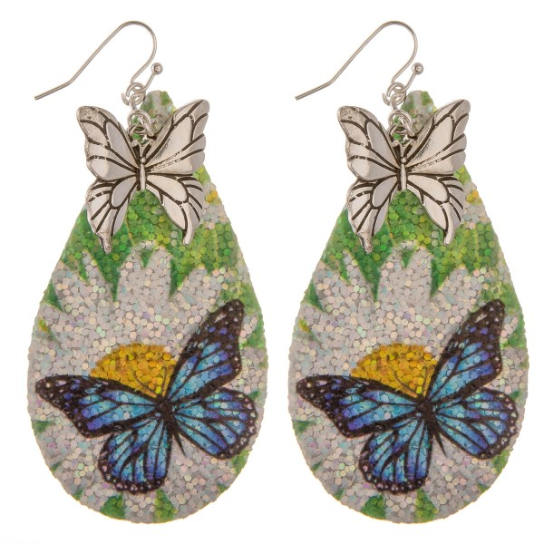 "Glittery butterfly teardrop earrings.  - Approximately 3.5"" in length"