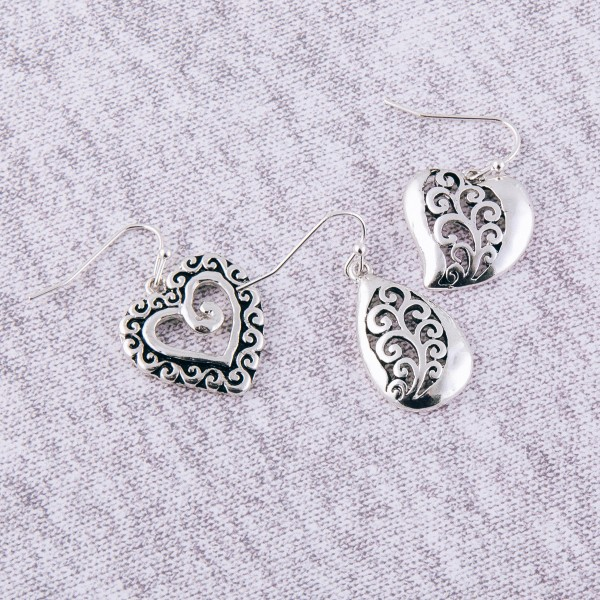 """Antique silver filigree heart earrings.  - Approximately 1"""" in length"""