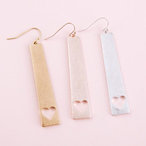 "Metal heart cut out bar earrings.  - Approximately 2.5"" L"