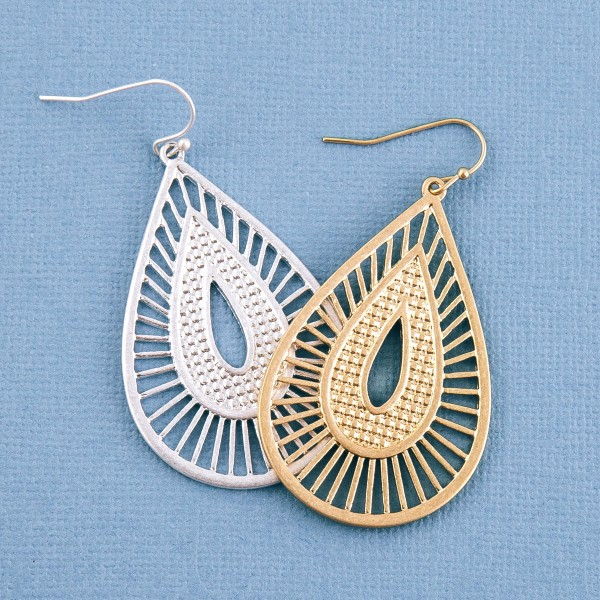 "Metal stripe cut out bohemian teardrop earrings.  - Approximately 2.25"" L"