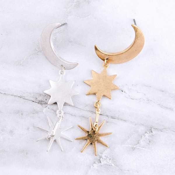 "Metal moon starburst dangle earrings.  - Approximately 2.25"" L"