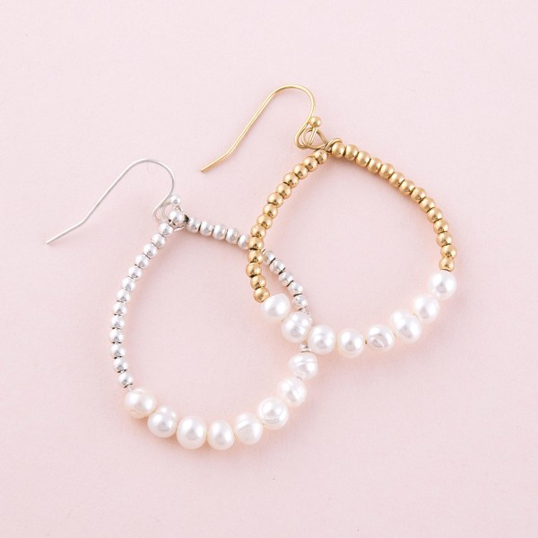 "Metal tone pearl beaded teardrop earrings.  - Approximately 1.5"" L"