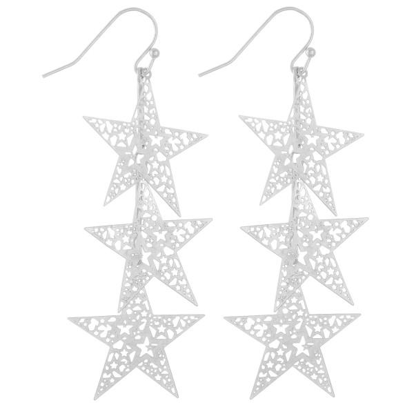 "Filigree star dangle earrings.  - Approximately 3"" L"