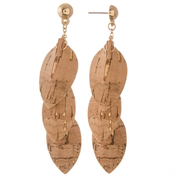 """Inverted faux cork teardrop dangle earrings.  - Approximately 3"""" L"""