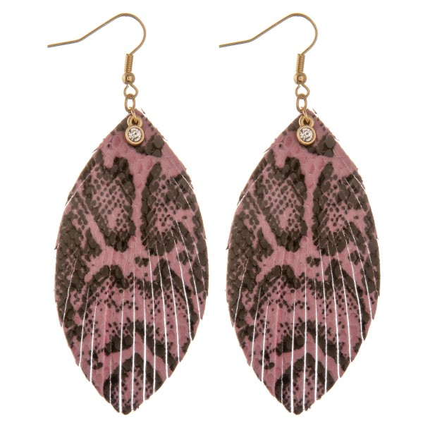 """Pink faux leather snakeskin feather earrings with rhinestone accent.  - Approximately 3.5"""" L"""