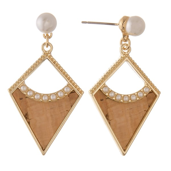 """Natural colored faux cork encased pearl drop earrings.  - Approximately 1.25"""" L"""