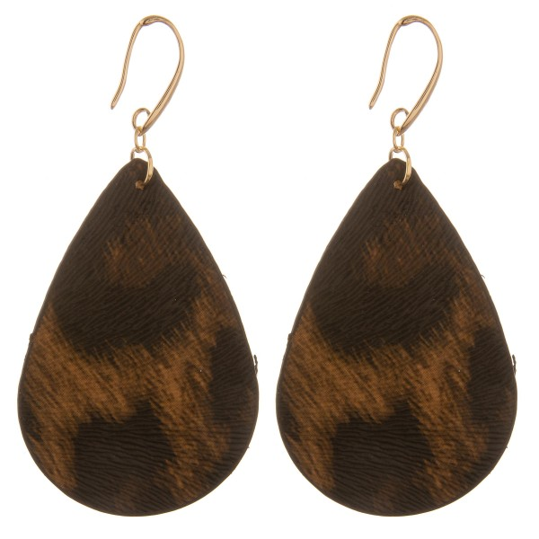 "Double sided faux leather leopard print teardrop earrings.  - Approximately 3"" L"