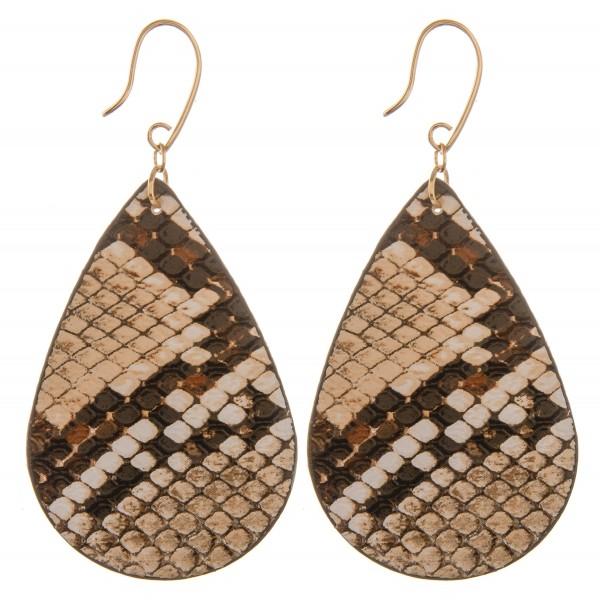 """Double sided faux leather snakeskin teardrop earrings.   - Approximately 3"""" L"""
