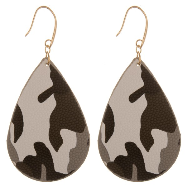 "Double sided faux leather camouflage teardrop earrings.  - Approximately 3"" L"