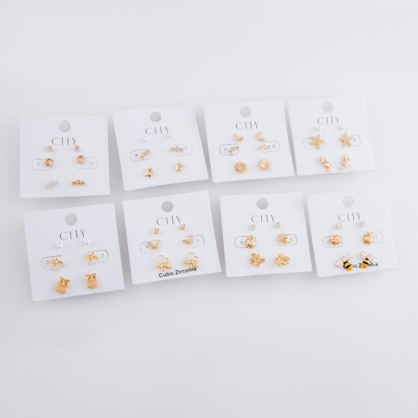 Dainty Gold star earring set.  - 3pair/set - Squares, Stars, Circles - Approximately 5mm