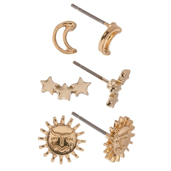 Dainty Gold boho stud earring set.  - 3pairs/set - Moons & Stars - Approximately 6mm