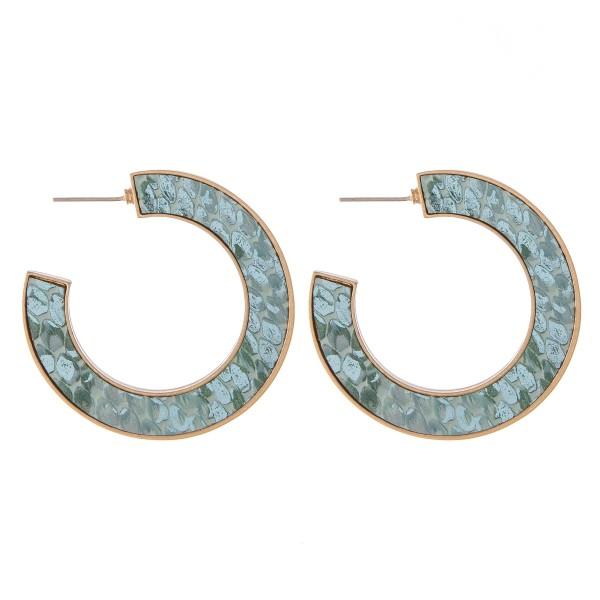 """Faux leather metallic snakeskin encased hoop earrings.  - Approximately 1.75"""" in diameter"""