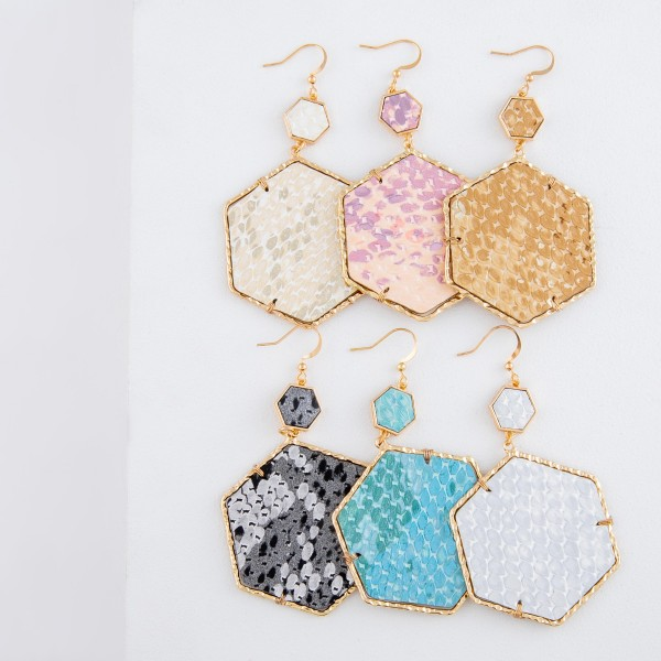 Faux leather metallic snakeskin octagon drop earrings with textured Gold trim.