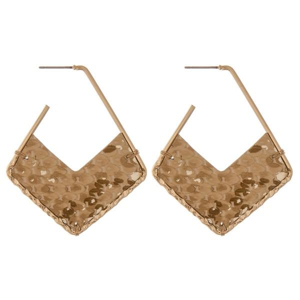 """Faux leather metallic snakeskin geometric open hoop earrings.  - Approximately 2.5"""" L"""