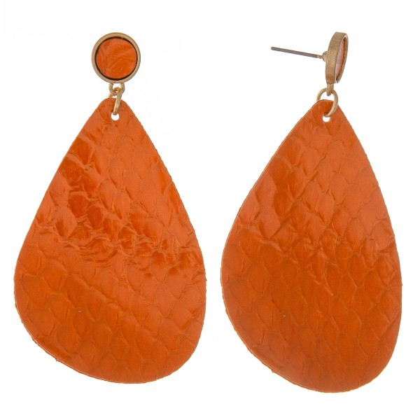 """Thin Genuine Leather solid animal print teardrop earrings.  - Approximately 2.5"""" L"""