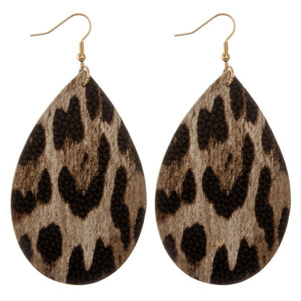 """Faux leather leopard print teardrop statement earrings.  - Approximately 3.5"""" L"""