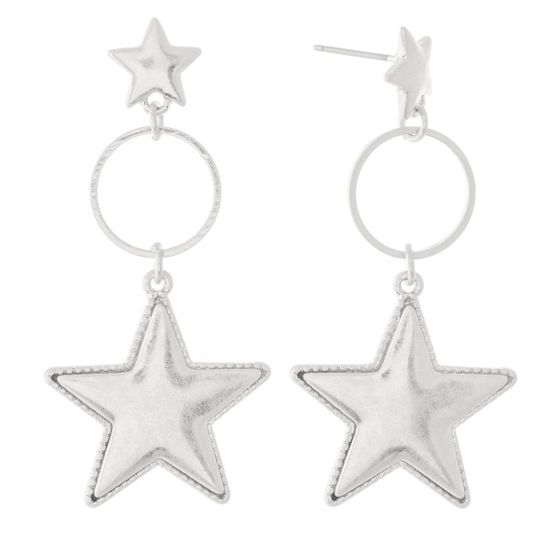"""Worn Silver Star Drop Earrings with Stud Post  -Approximately 2"""" L"""