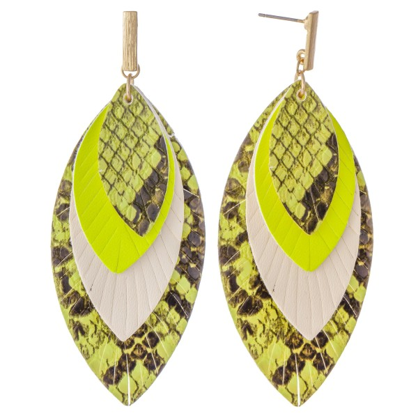 "Three Tone Faux Leather Snakeskin Feather Layered Drop Earrings.  - Approximately 3.5"" L"