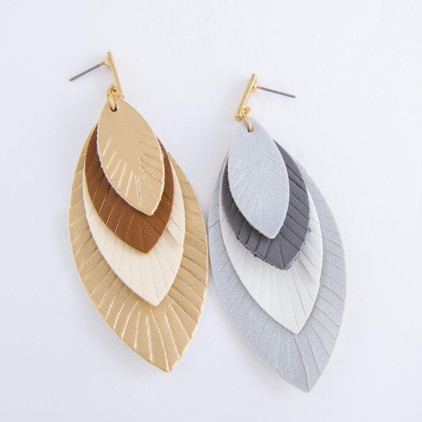 "Three Tone Faux Leather Solid Feather Layered Drop Earrings.  - Approximately 3.5"" L"